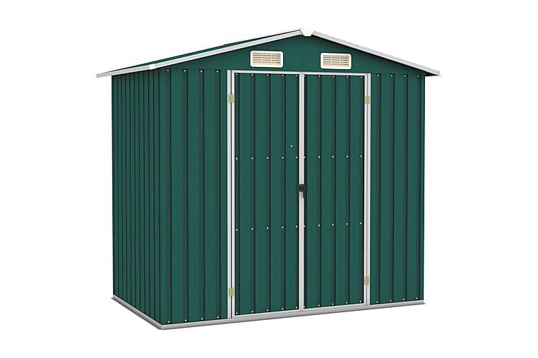 Trädgårdsskjul grön 205x129x183 cm galvaniserat stål - Grön - Möbler - Förvaring - Förvaring ute