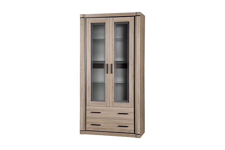 Vitrinskåp Dallas 97x43,5x192 cm - Beige/Grå - Möbler - Förvaring - Vitrinskåp