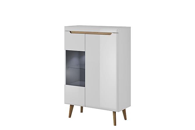 Vitrinskåp Nordi 90x40x134 cm - Vit - Möbler - Förvaring - Vitrinskåp