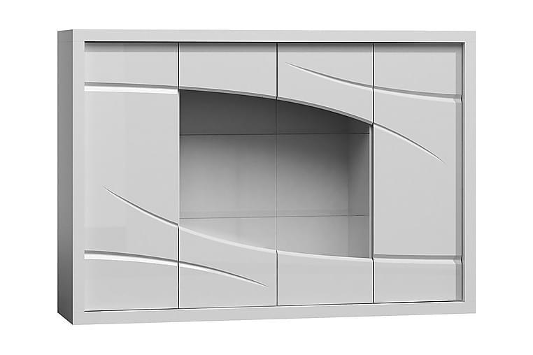 Vitrinskåp Paris 171x44x119 cm - Vit Högglans/Vit Led-Belysning - Möbler - Förvaring - Vitrinskåp