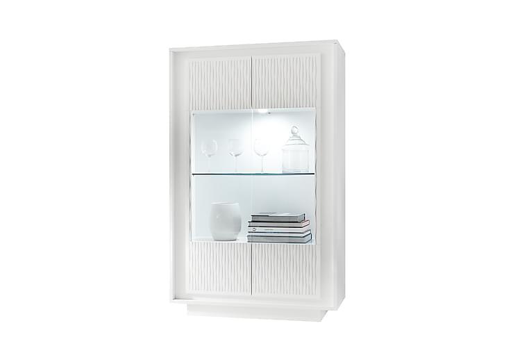 Vitrinskåp Sky 106 cm 2 Dörrar - Vit|Ränder|Glas - Möbler - Förvaring - Vitrinskåp