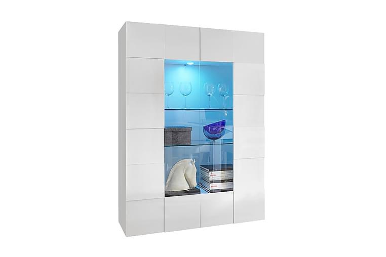 Vitrinskåp Tabor 121 cm - Vit Högglanslack - Möbler - Förvaring - Vitrinskåp