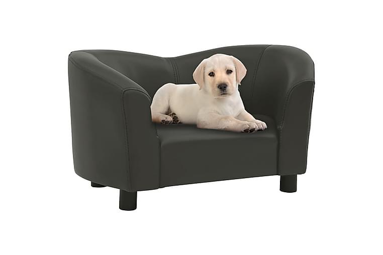 Hundsoffa mörkgrå 67x41x39 cm konstläder - Grå - Möbler - Husdjursmöbler - Hundmöbler