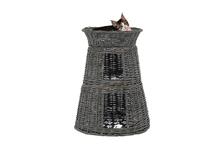 Kattkorg 3 delar med dynor grå 47x34x60 cm naturlig pil - Grå - Möbler - Husdjursmöbler - Kattmöbler