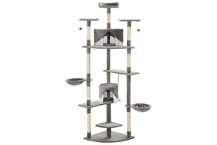 Klösträd med klöspelare i sisal 203 cm grå och vit - Flerfärgad - Möbler - Husdjursmöbler - Kattmöbler