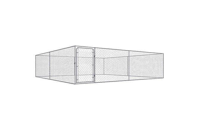 Utendørs hundegård galvanisert stål 4x4x1,85 m - Möbler - Husdjursmöbler - Tillbehör husdjur