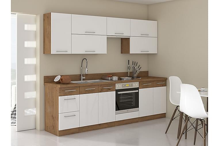 Köksmöbelset Wishon - Ek/Vit/Högglans - Möbler - Möbelset - Möbelset för kök & matplats