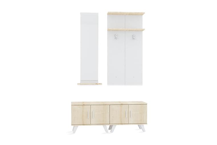 Klädförvaring Hasta 120 cm - Brun Vit - Möbler - Möbelset - Möbelset för hall & entre