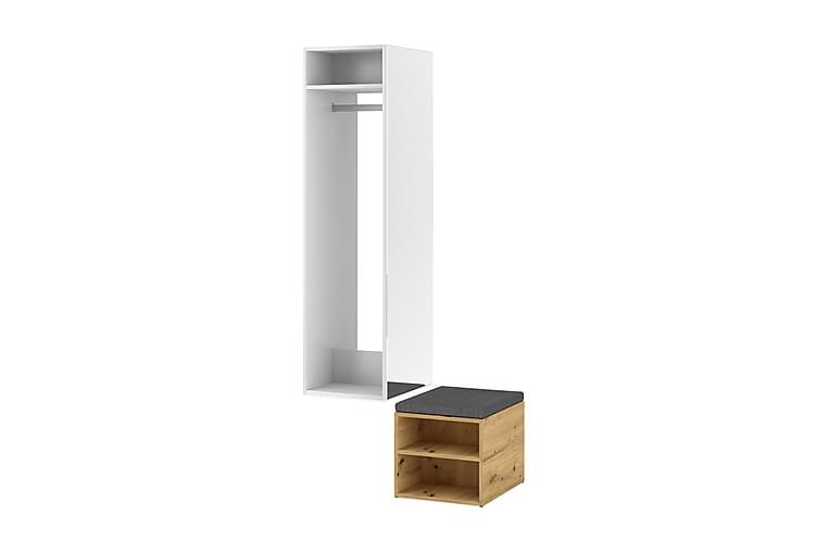 Vitrinskåp Nickler 50x150 cm - Vit/Ek - Möbler - Möbelset - Möbelset för hall & entre