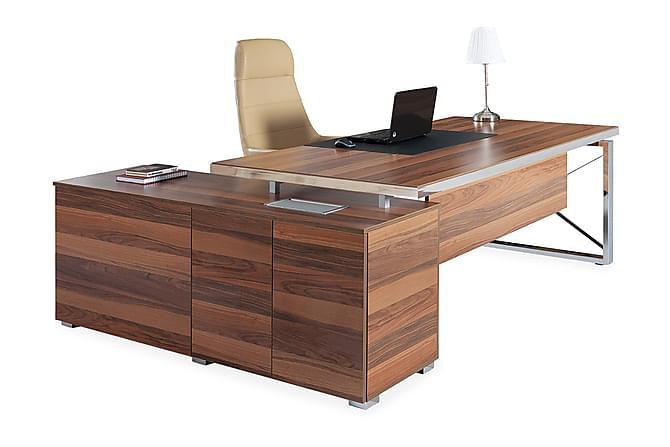 Kontorsmöbelset Cupstid 225 cm - Valnöt|Silver - Möbler - Möbelset - Möbelset för kontor