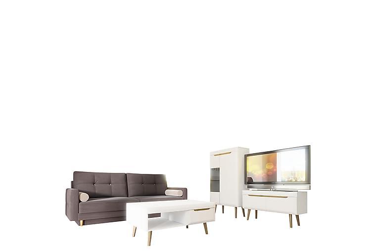 Bäddsoffa & Vardagsrumsset Nordi - Grå/Vit - Möbler - Möbelset - Möbelset för vardagsrum
