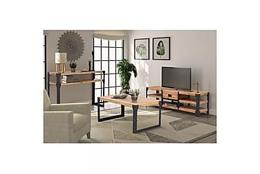 Vardagsrumsmöbler 3 delar massivt akaciaträ