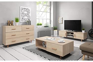 Vardagsrumspaket TV-bänk+Skänk+Soffbord Nelda