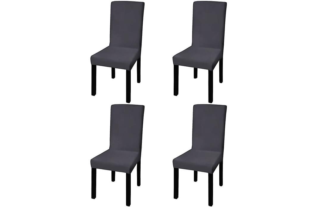 Rakt elastiskt stolsöverdrag 4 st antracit - Grå - Möbler - Möbelvård - Möbelöverdrag