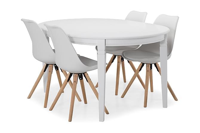 Matbord Lowisa Förlängningsbart 150 cm Ovalt - Vit|Beige - Möbler - Matgrupper - Oval matgrupp