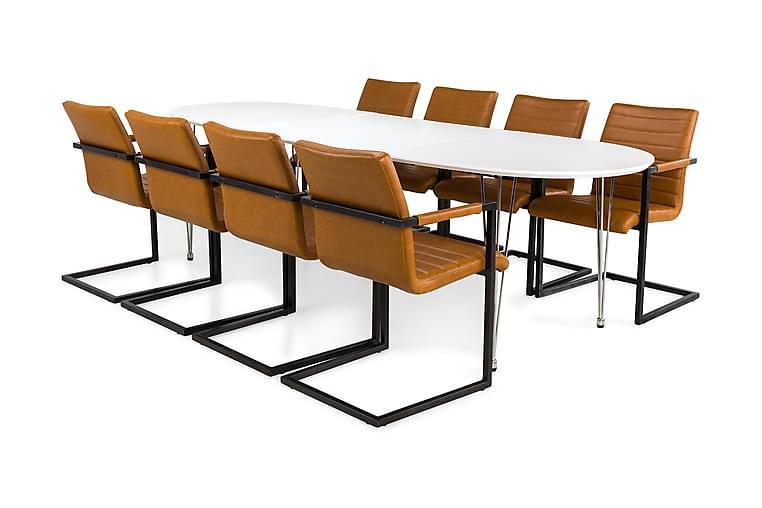 Matgrupp Lennox Vit/Vintage/Ljusbrun - 8 st Dutch Stolar - Möbler - Matgrupper - Oval matgrupp