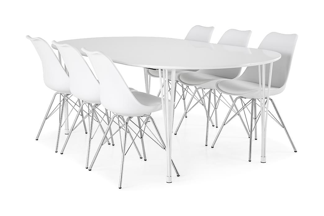 Matgrupp Sterling Förlängningsbar 160 cm med 6 Scale Stol - Vit Vit PU Krom - Möbler - Matgrupper - Oval matgrupp