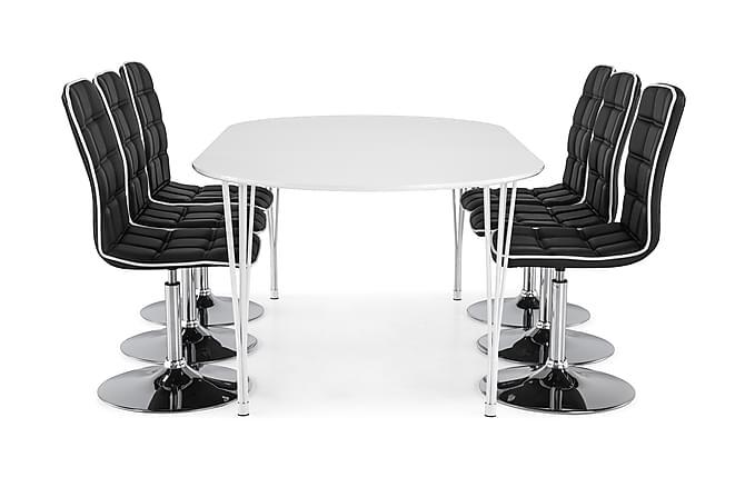 Matgrupp Sterling Förlängningsbar 160 cm med 6 Shaw Stol - Vit Svart PU Krom - Möbler - Matgrupper - Oval matgrupp