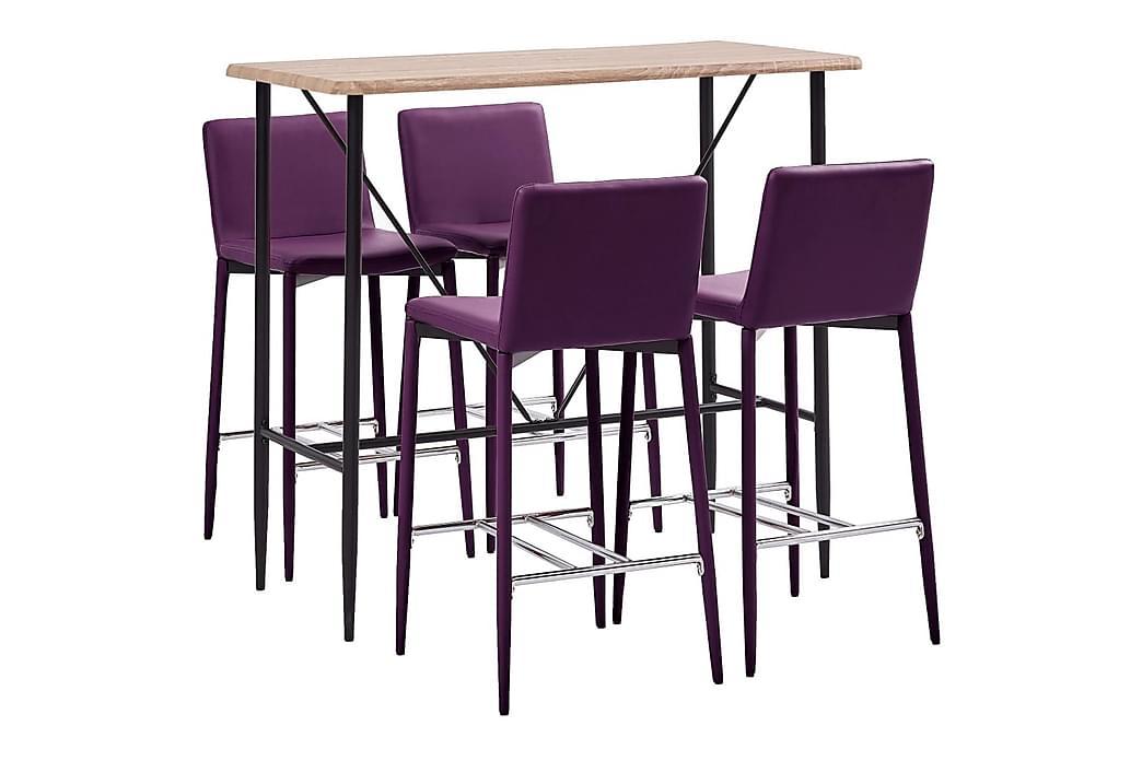Bargrupp 5 delar konstläder lila - Lila - Möbler - Matgrupper - Rektangulär matgrupp
