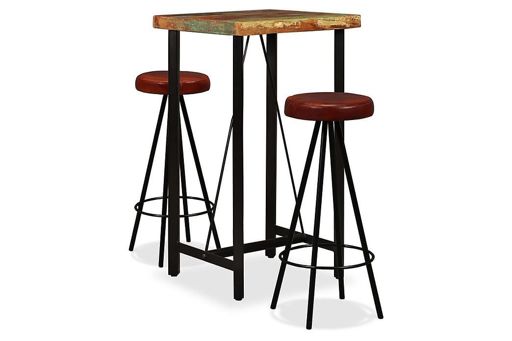 Barmöbler 3 delar massivt återvunnet trä och äkta läder - Brun - Möbler - Matgrupper - Rektangulär matgrupp