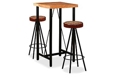 Barmöbler 3 delar massivt sheshamträ, äkta läder & kanvas