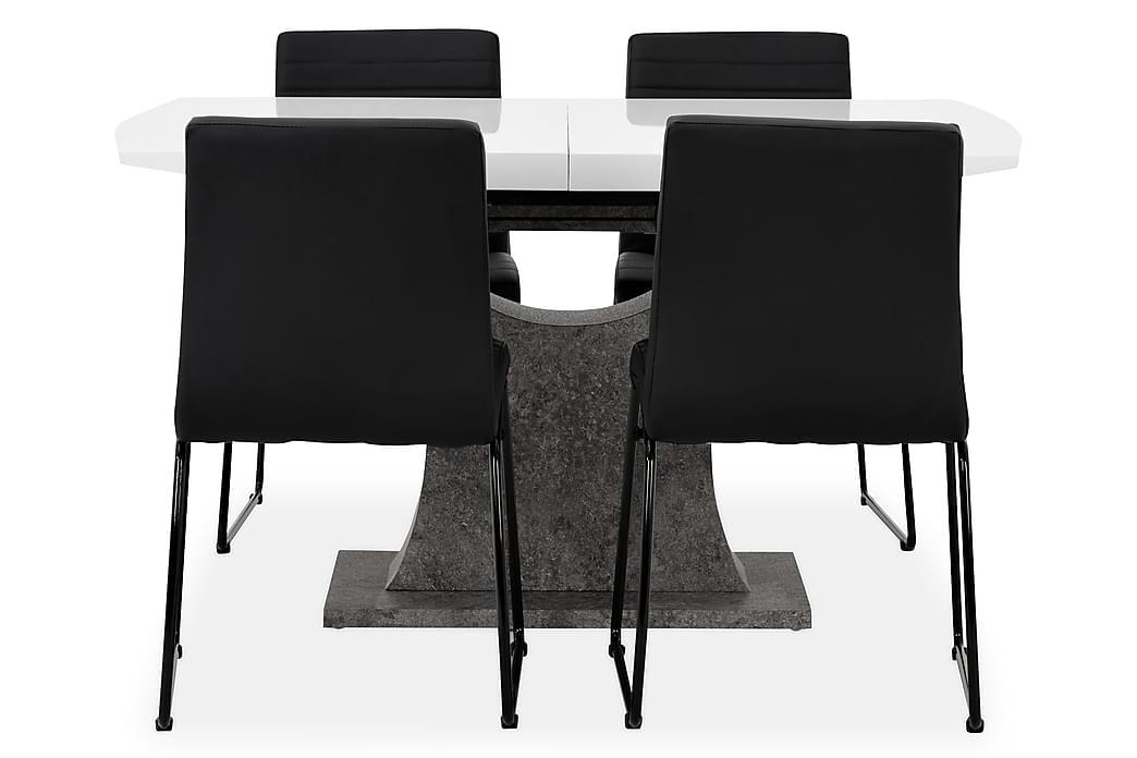 Bord Seseli 140 Vit/Beton/Svart - med 4 Frio Stol - Möbler - Matgrupper - Rektangulär matgrupp