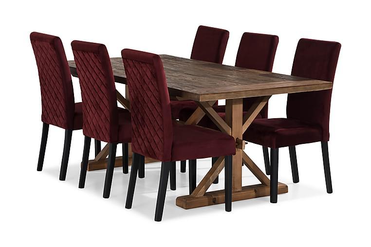 Förlängningsbar Matgrupp Yorkshire 200 cm med 6 Max Stol - Natur Röd - Möbler - Matgrupper - Rektangulär matgrupp