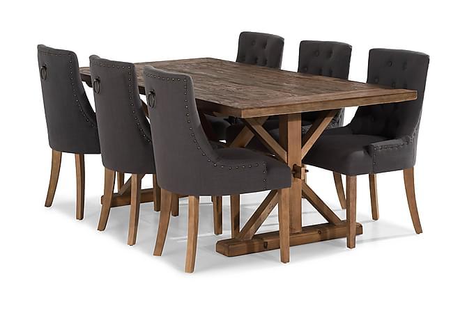 Förlängningsbar Matgrupp Yorkshire 200 cm med 6 Ophelia Stol - Natur|Grå - Möbler - Matgrupper - Rektangulär matgrupp