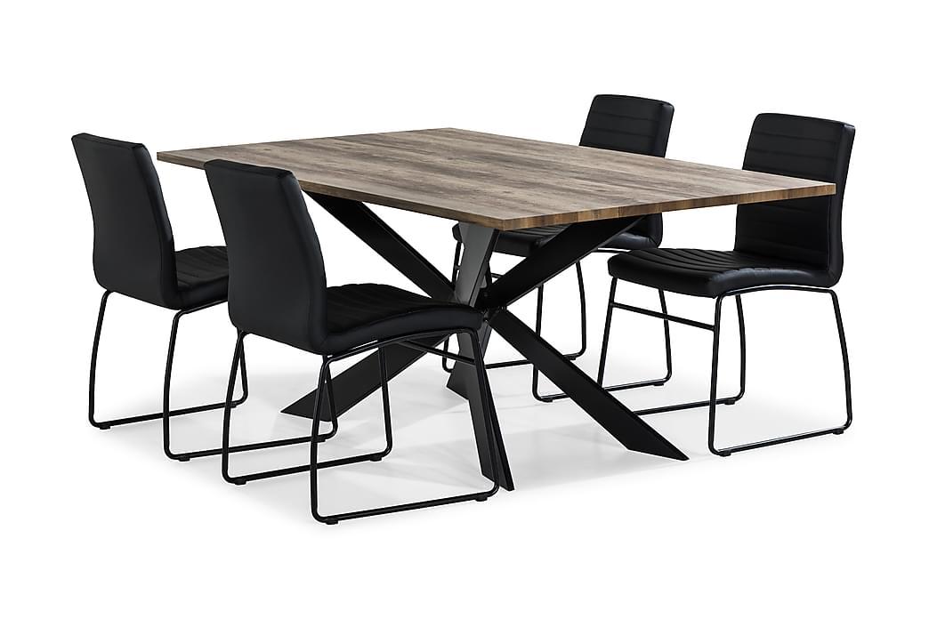 Matbord Marcelen 4 Dewar Matstol - Svart|Trä|Natur - Möbler - Matgrupper - Rektangulär matgrupp