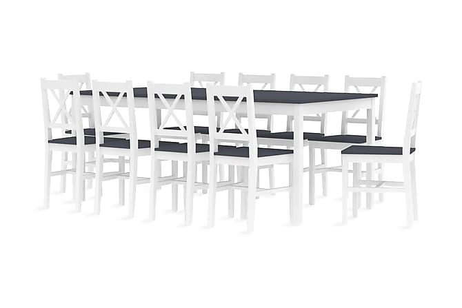 Matgrupp 11 delar furu vit och grå - Grå - Möbler - Matgrupper - Rektangulär matgrupp