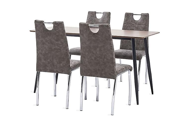 Matgrupp 5 delar brun konstläder - Brun - Möbler - Matgrupper - Rektangulär matgrupp