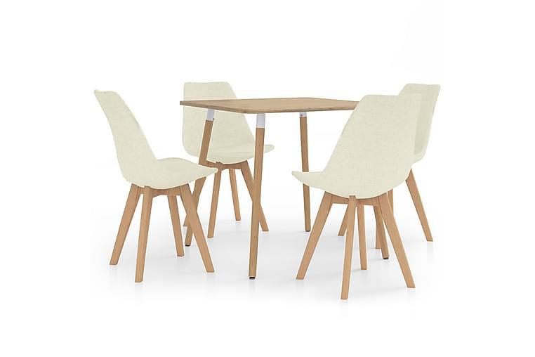 Matgrupp 5 delar gräddvit - Kräm - Möbler - Matgrupper - Rektangulär matgrupp