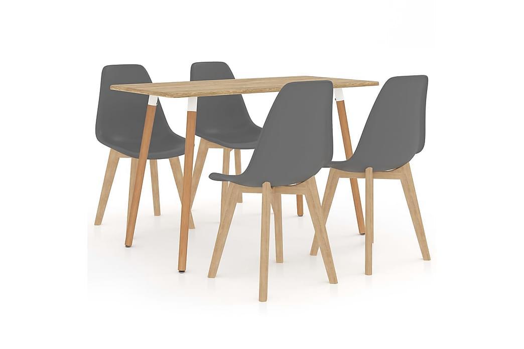 Matgrupp 5 delar grå - Grå - Möbler - Matgrupper - Rektangulär matgrupp