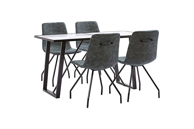 Matgrupp 5 delar svart konstläder - Svart - Möbler - Matgrupper - Rektangulär matgrupp