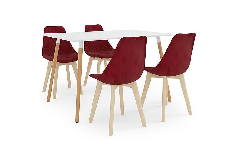 Matgrupp 5 delar vinröd - Röd - Möbler - Matgrupper - Rektangulär matgrupp