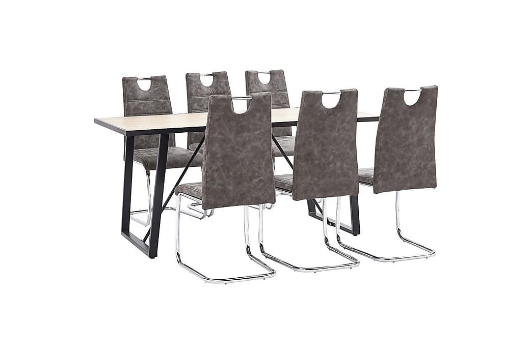 Matgrupp 7 delar brun konstläder - Brun - Möbler - Matgrupper - Rektangulär matgrupp