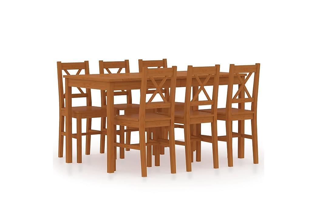 Matgrupp 7 delar furu honungsbrun - Brun - Möbler - Matgrupper - Rektangulär matgrupp