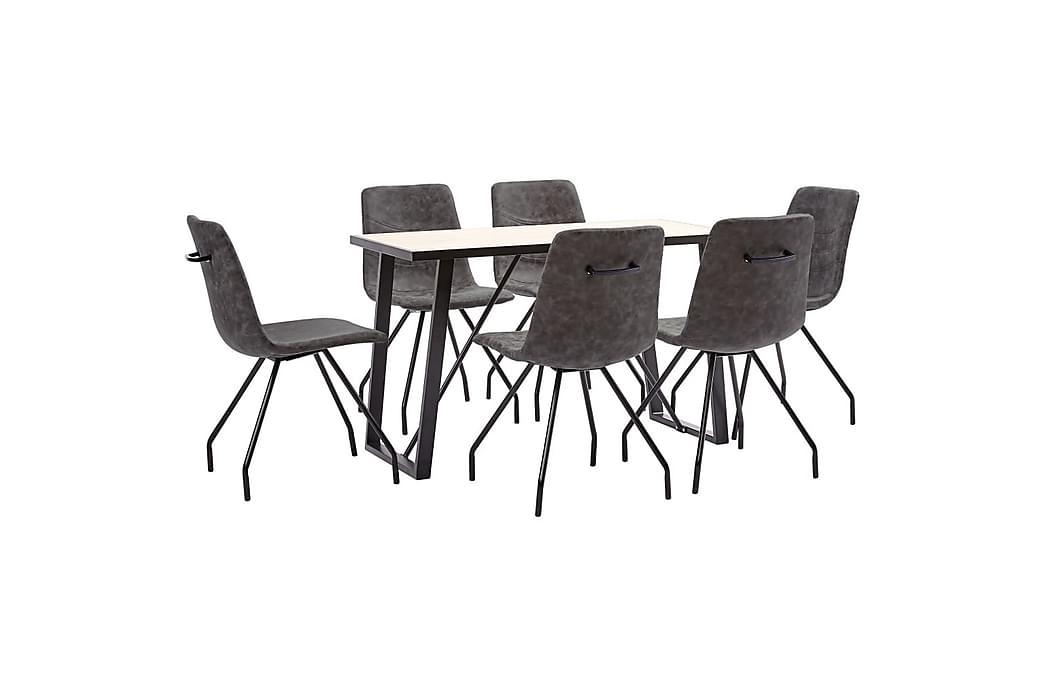 Matgrupp 7 delar mörkbrun konstläder - Brun - Möbler - Matgrupper - Rektangulär matgrupp