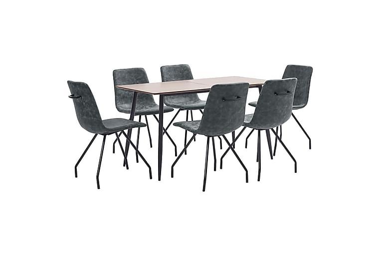 Matgrupp 7 delar svart konstläder - Svart - Möbler - Matgrupper - Rektangulär matgrupp