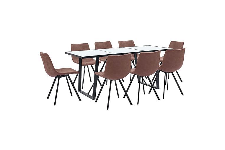 Matgrupp 9 delar mellanbrun konstläder - Brun - Möbler - Matgrupper - Rektangulär matgrupp