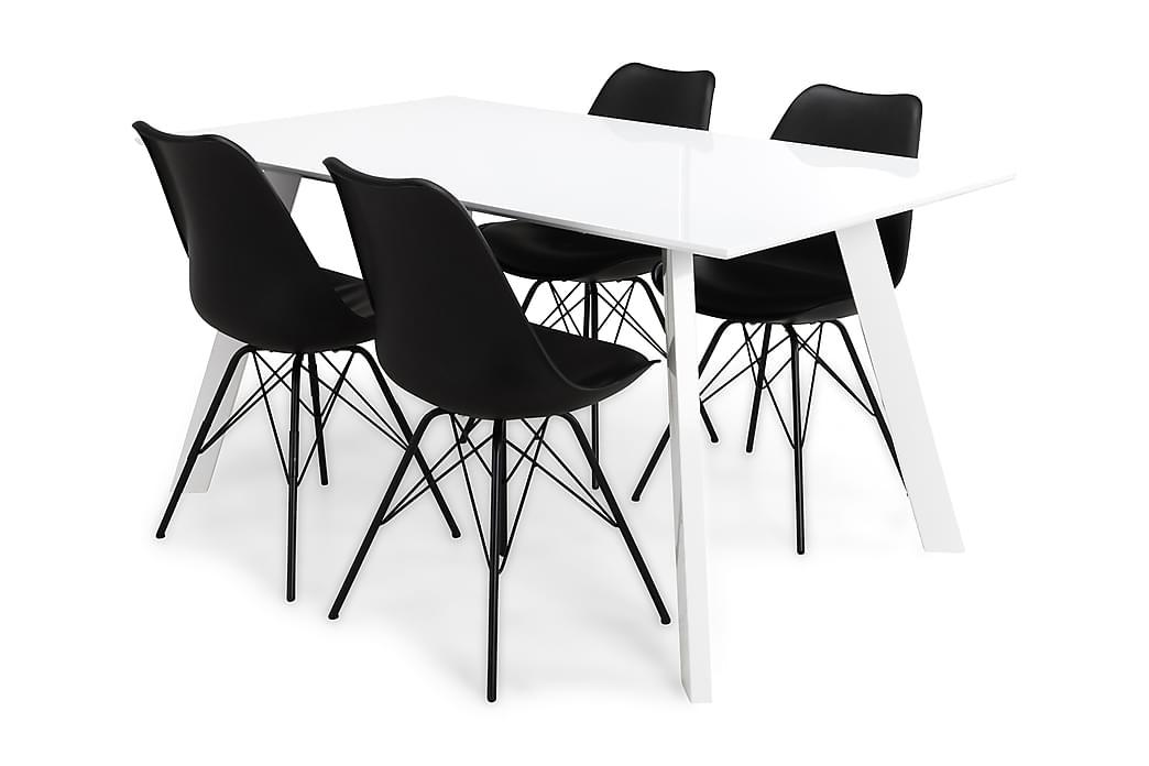 Matgrupp Eli 150 cm med 4 Shell Stol - Vit Svart PU - Möbler - Matgrupper - Rektangulär matgrupp