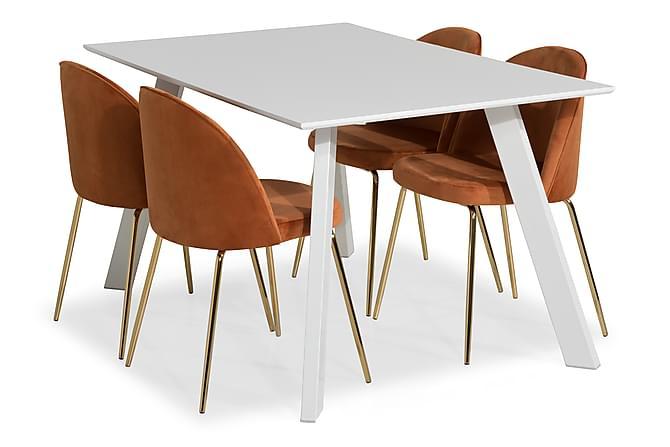 Matgrupp Eli med 4 Stol Gerardo Sammet - Vit|Orange|Mässingsben - Möbler - Matgrupper - Rektangulär matgrupp