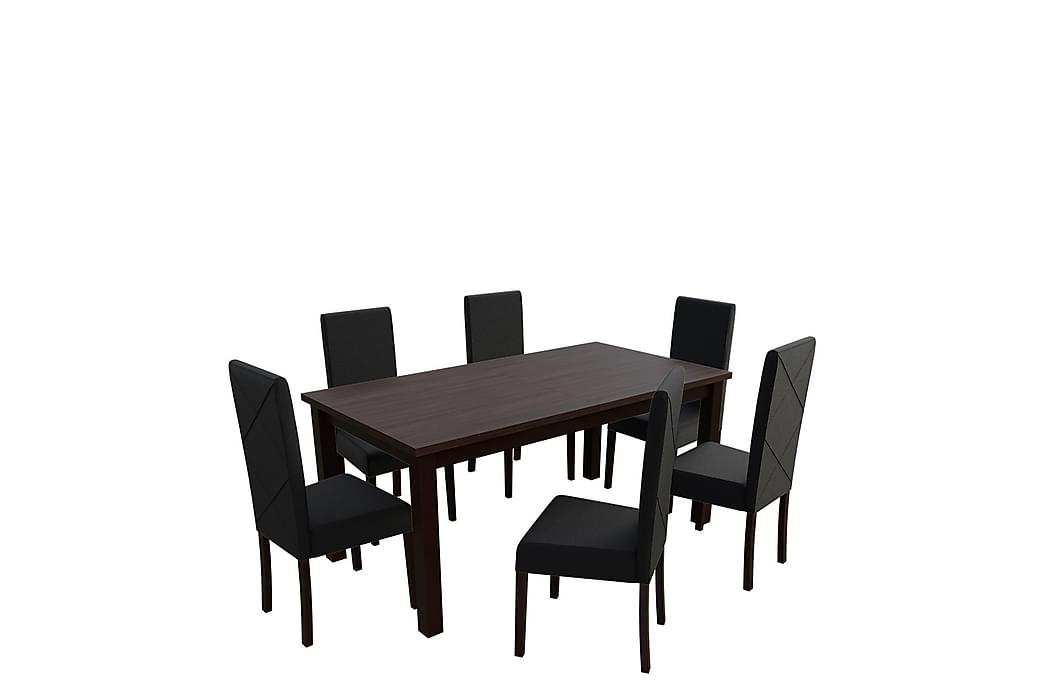 Matgrupp Esbo - Trä/Natur|Svart - Möbler - Matgrupper - Rektangulär matgrupp