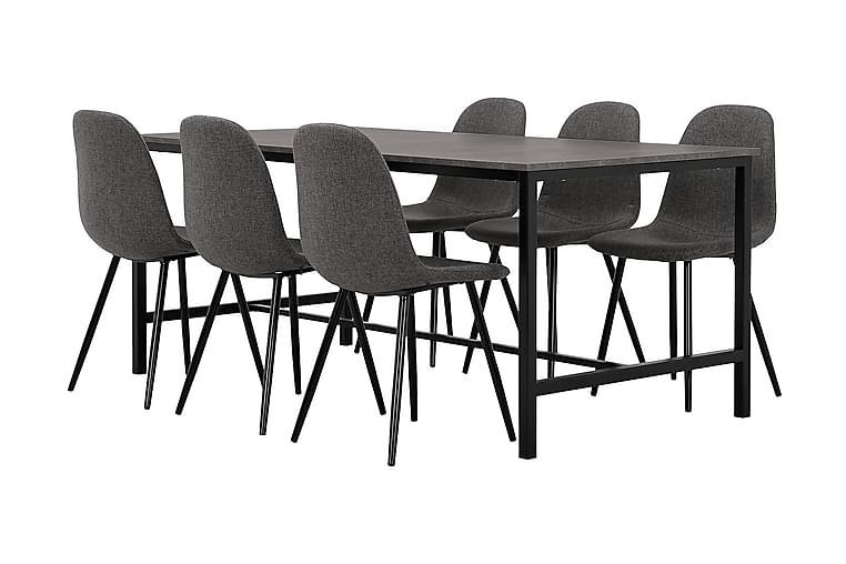 Matgrupp Evo 180 cm med 6 Loanda Stol - Svart|Betong - Möbler - Matgrupper - Rektangulär matgrupp