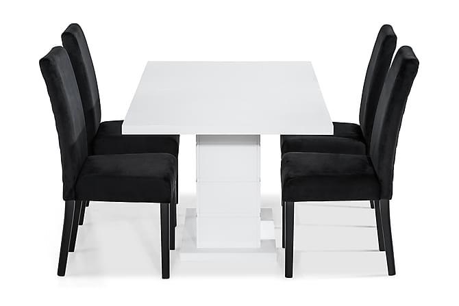 Matgrupp Griffith 160 cm med 4 st Max Stol - Vit Svart - Möbler - Matgrupper - Rektangulär matgrupp