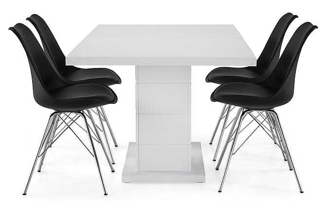 Matgrupp Griffith Förlängningsbar 160 cm med 4 Shell Stol - Vit|Svart PU|Krom - Möbler - Matgrupper - Rektangulär matgrupp