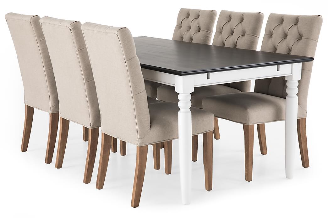 Matgrupp Hampton 190 cm med 6 Emmie Stol - Mahogny Vit Beige - Möbler - Matgrupper - Rektangulär matgrupp