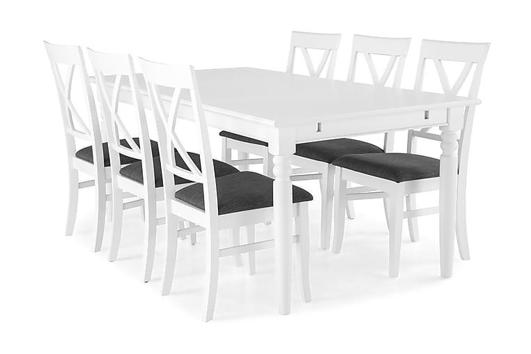 Matgrupp Hampton 190 cm med 6 Hartford Stol - Vit Grå - Möbler - Matgrupper - Rektangulär matgrupp