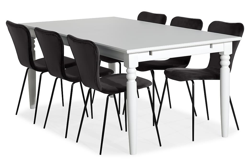 Matgrupp Hampton 190 cm med 6 Miko Stol - Vit|Grå - Möbler - Matgrupper - Rektangulär matgrupp
