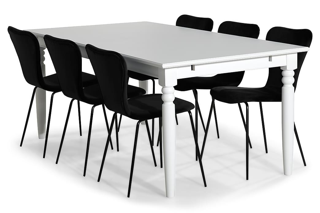 Matgrupp Hampton 190 cm med 6 Miko Stol - Vit|Svart - Möbler - Matgrupper - Rektangulär matgrupp